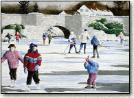 paintings of children ice skating
